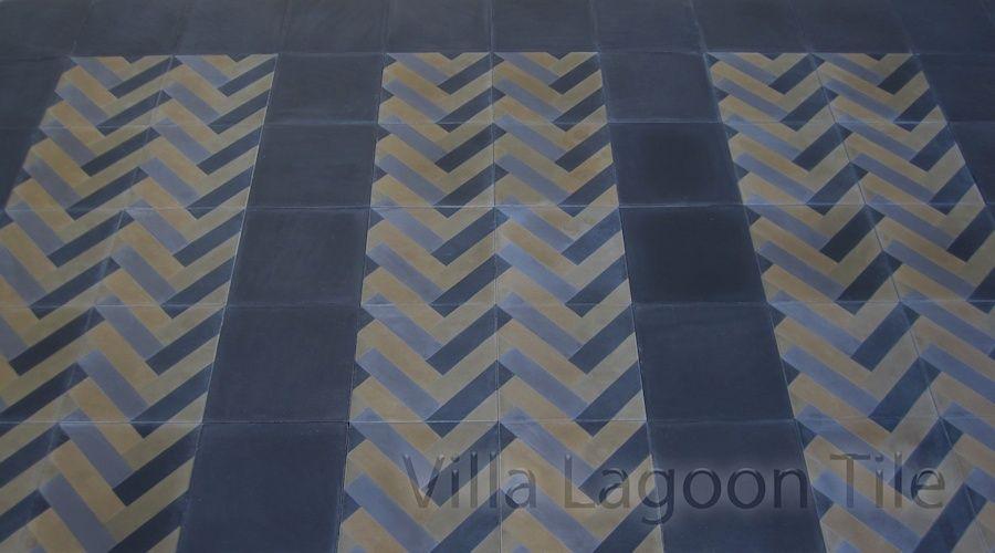 Herringbone Cement Tile Strips in Solid Black.