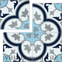 Imperfect Tulips B Navy (PS) Cement Tile
