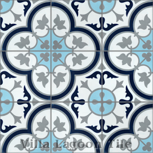 """Tulips B Navy (PS)6"" Cement Tile, from Villa Lagoon Tile."