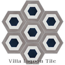 """Hex Halo Two B"" Cement Tile"
