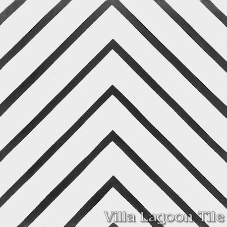 Labyrinth Black & White Morning cement tile, from Villa Lagoon Tile.