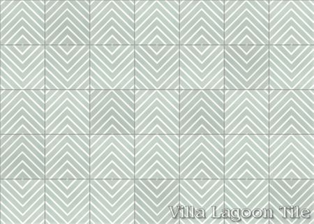 Labyrinth Pale Jade cement tile, in a 9x6 layout, from Villa Lagoon Tile.