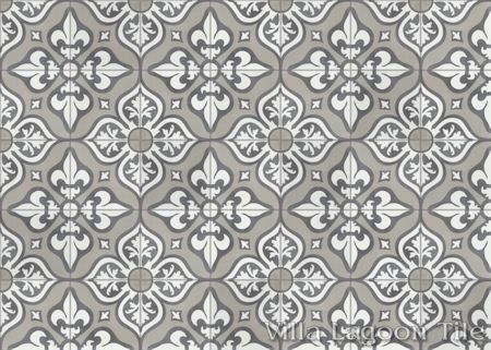 Lancelot Fog Cement Tile in a 9x6 layout, from Villa Lagoon Tile.
