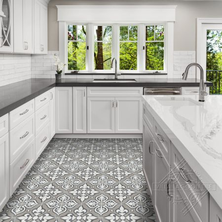 """Lancelot Fog"" Cement Tile Kitchen Floor, from Villa Lagoon Tile"