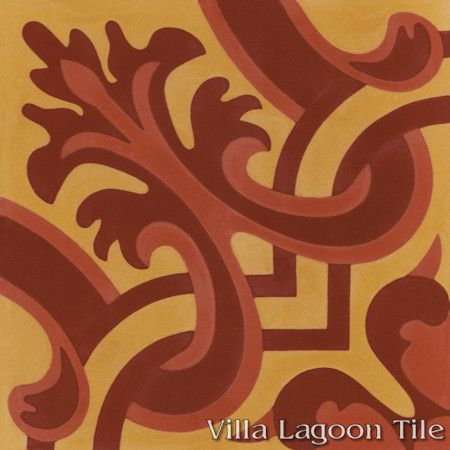 Madeira Hearts Ablaze cement tile, from Villa Lagoon Tile.