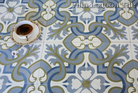 Madeira Spring cement tile floor, with a tea cup, from Villa Lagoon Tile.