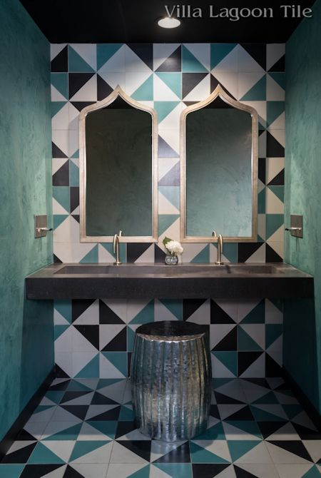 Man Overboard cement tile commercial washroom, from Villa Lagoon Tile.