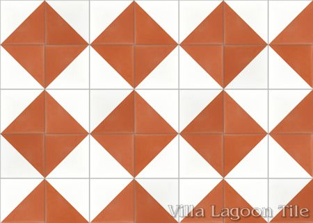 Man Overboard Terracotta & White cement tile, from Villa Lagoon Tile.