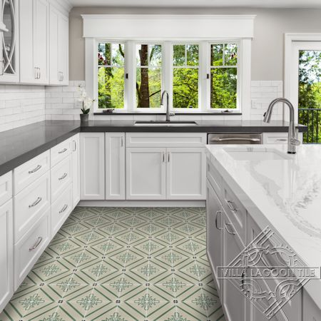 Marbella Allucci cement tile kitchen floor, from Villa Lagoon Tile.