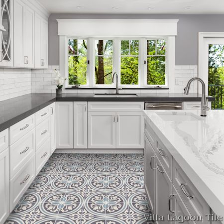 Mia cement tile kitchen floor, from Villa Lagoon Tile.