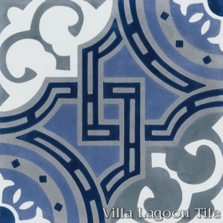 Michael Glacier cement tile, from Villa Lagoon Tile.