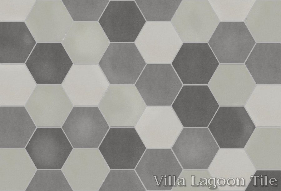 Click For Larger Image Mixed Gray Hex Cement Tile