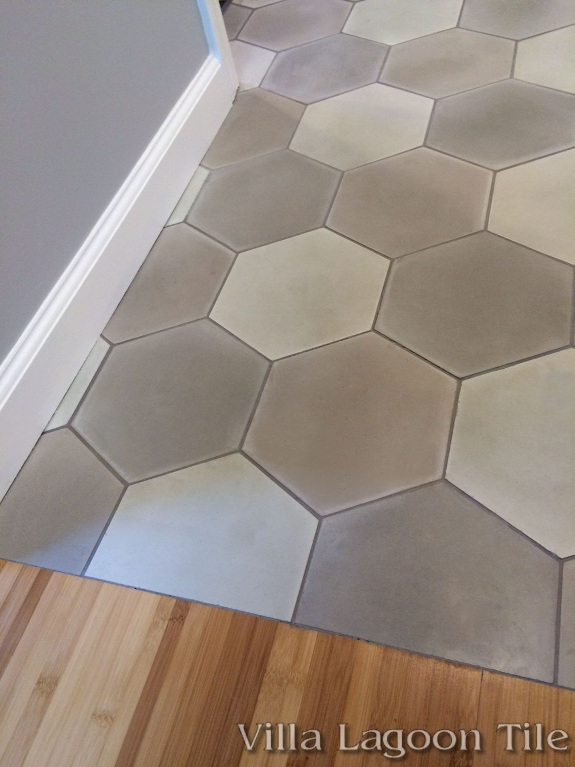 Mixed gray hex cement tile villa lagoon tile for Floor cement tiles