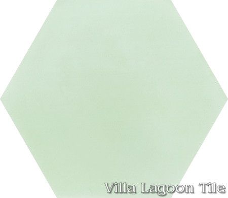 "Mixed Pastel Hex Cement Tile, ""Patina"", from Villa Lagoon Tile."