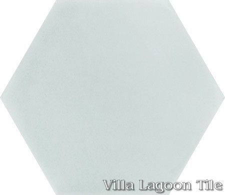 "Mixed Pastel Hex Cement Tile, ""Smoke Blue"", from Villa Lagoon Tile."