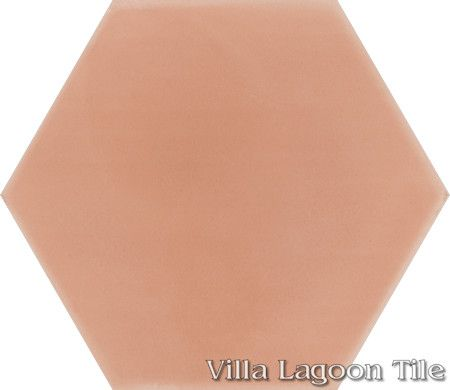 "Mixed Pastel Hex Cement Tile, ""Smoky Coral"", from Villa Lagoon Tile."