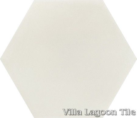 "Mixed Pastel Hex Cement Tile, ""Seashell White"", from Villa Lagoon Tile."