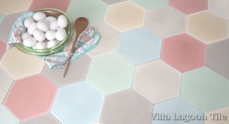 Mixed Pastel Hex Cement Tile, from Villa Lagoon Tile.