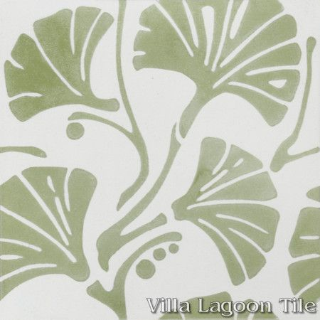 Mossy Fan Vine cement tile, From Villa Lagoon Tile.