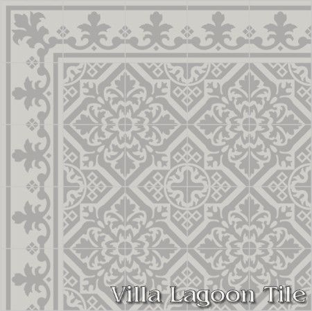 Nuevo Castillo cement tile with a Monarch border, from Villa Lagoon tile