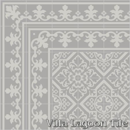 Nuevo Castillo cement tile with a Monarch double border, from Villa Lagoon Tile