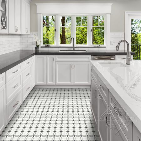 Omni Petite cement tile kitchen floor, from Villa Lagoon Tile.