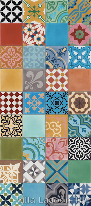 Perspective view of our in-stock Patchwork Cement Tile, from Villa Lagoon Tile.