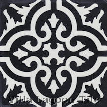 Fiore F B&W Cement Tile, from Villa Lagoon Tile