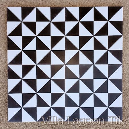 Pinwheel A Black & White cement tile, from Villa Lagoon Tile.
