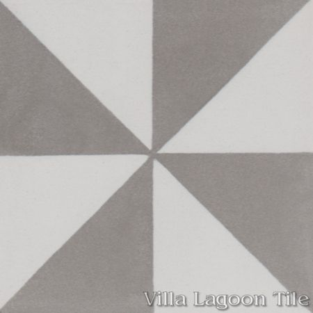 Pinwheel Grande A cement tile, in Featherstone & White, from Villa Lagoon Tile.