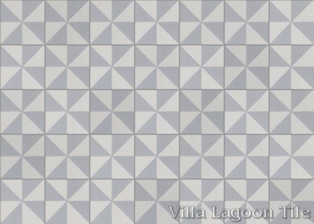 Pinwheel Grande A cement tile, in Silver & White, in a 7x5 layout.