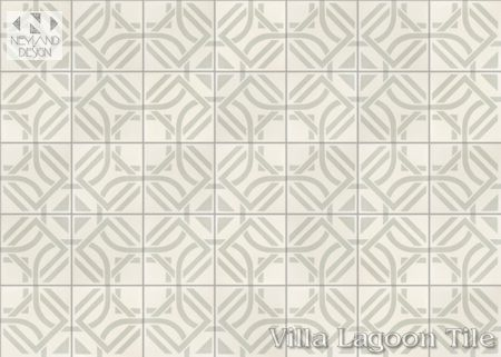 Portals Linen cement tile, in a 9x6 layout, from Villa Lagoon Tile.