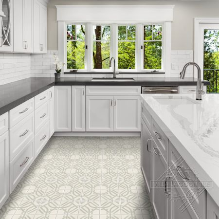Portals Linen cement tile kitchen floor,  from Villa Lagoon Tile.
