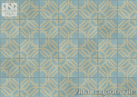 Portals Stone Blue cement tile, in a 9x6 layout, from Villa Lagoon Tile.