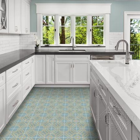 Portals Stone Blue cement tile kitchen floor,  from Villa Lagoon Tile.