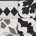 "Random 4"" Patchwork, Black, White, and Gray, from Villa Lagoon Tile"