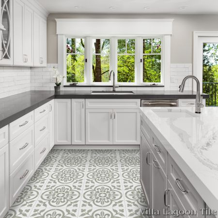 """Raylen A"" cement tile kitchen floor, from Villa Lagoon Tile."