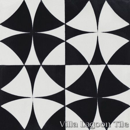 Rotunda Black & White cement tile, from Villa Lagoon Tile.