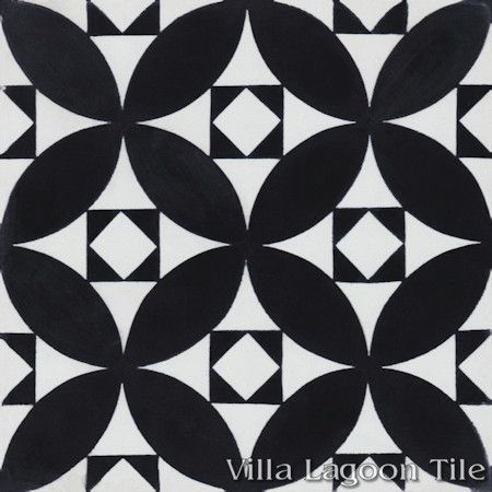 """Saint Mark's Black and White One"" Encaustic Cement Tile, From Villa Lagoon Tile."