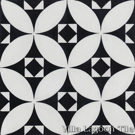 """Saint Mark's Black and White Two"" Encaustic Cement Tile, From Villa Lagoon Tile."