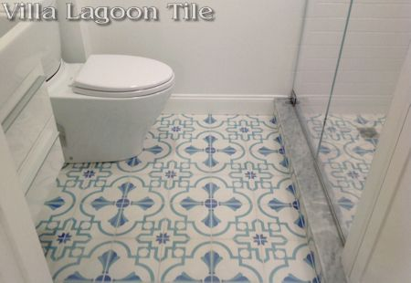 Savona B Palm Beach cement tile in a Beacon Hill bathroom, exclusively from Villa Lagoon Tile.