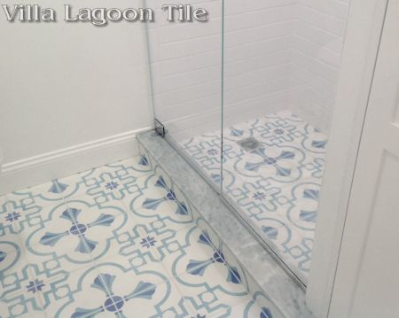 Savona B Palm Beach cement tile in a Beacon Hill shower, exclusively from Villa Lagoon Tile.