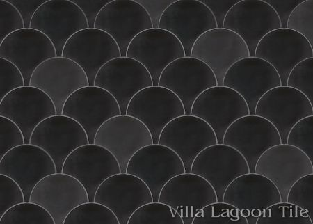 Solid Fishscale Black cement tile, from Villa Lagoon Tile.