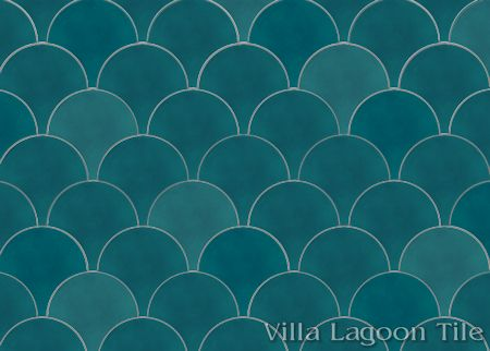 Solid Fishscale Channel Blue cement tile, from Villa Lagoon Tile.