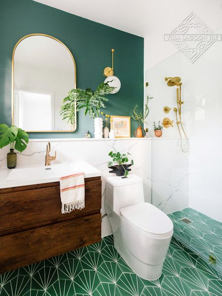 """Spark C Monte Verde"" hex cement tile bathroom floor, from Villa Lagoon Tile"