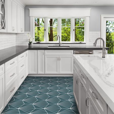 """Spark C Aegean"" hex cement tile kitchen floor, from Villa Lagoon Tile."