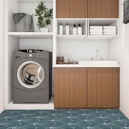 """Spark C Aegean"" hex cement tile laundryroom floor, from Villa Lagoon Tile."
