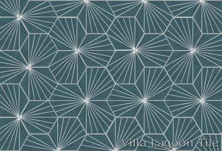 """Spark C Aegean"" hex cement tile."