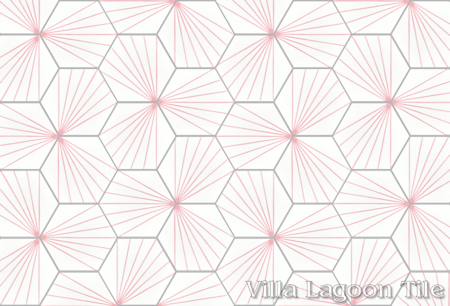 """Spark C Blush"" hex cement tile, from Villa Lagoon Tile."