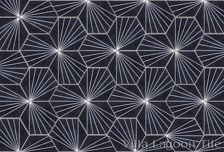 """Spark C Black and White Evening"" hex cement tile."